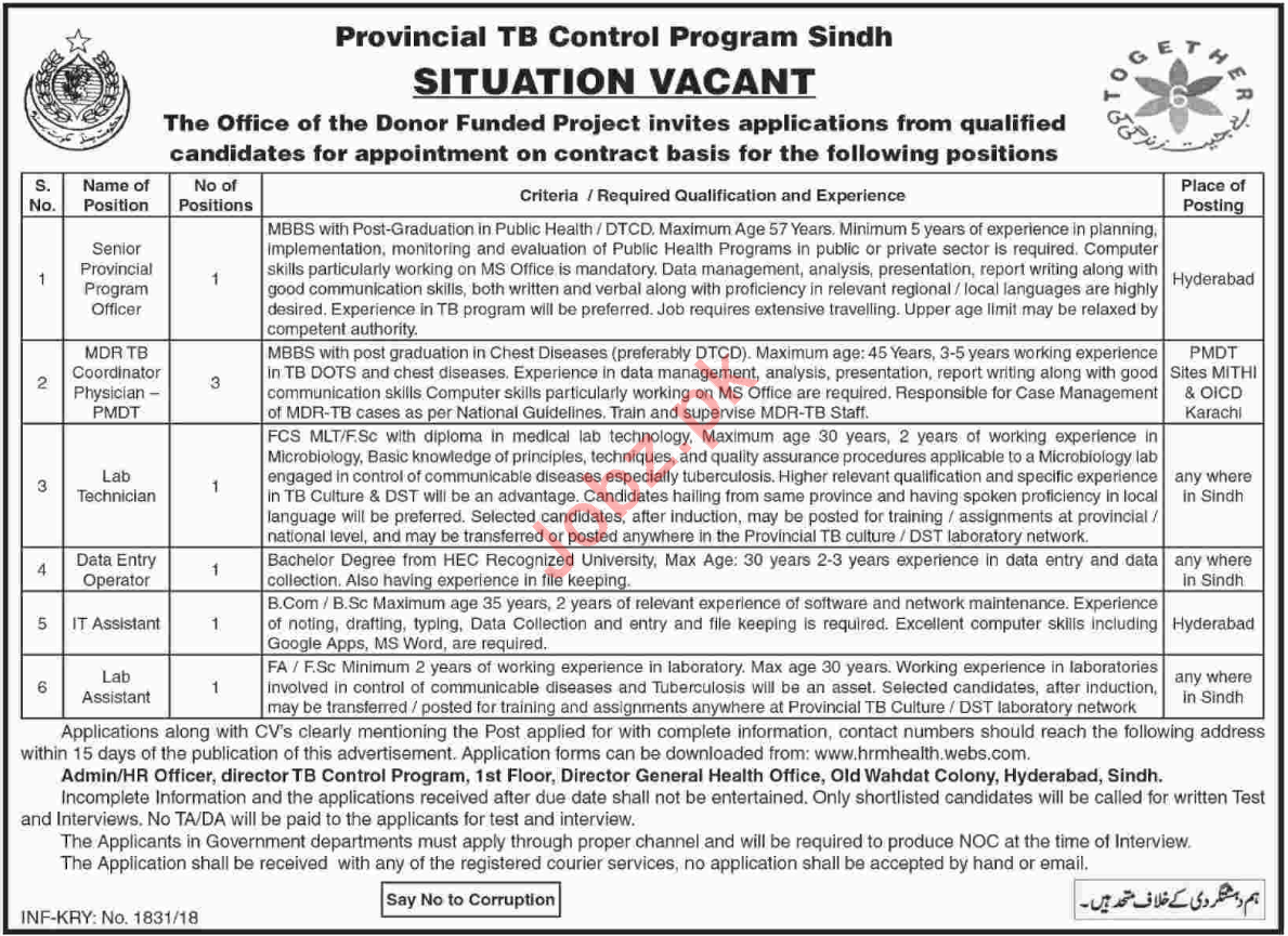 Provincial TB Control Program Sindh Jobs 2018