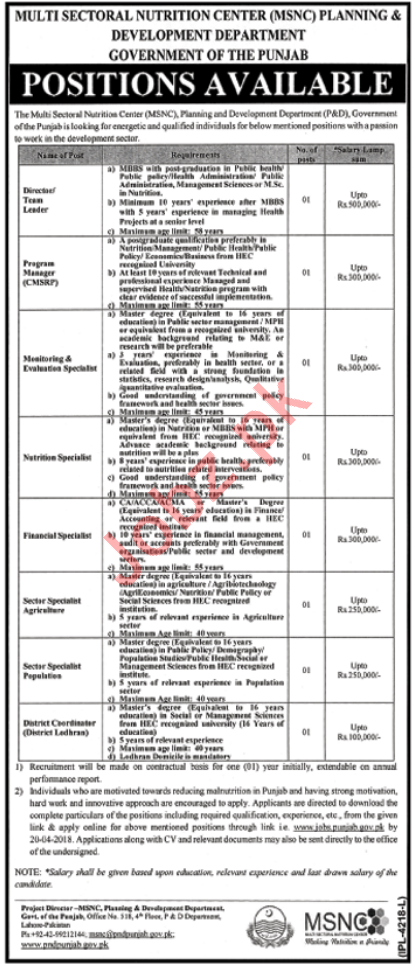 Multi Sectoral Nutrition Center MSNC Jobs 2018