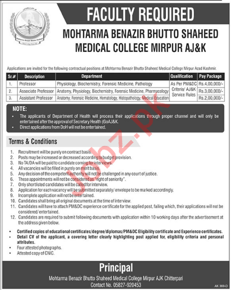 MBBS Medical College Mirpur Jobs 2018 for Professors