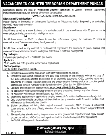 Counter Terrorism Department CTD Punjab Police Jobs Open