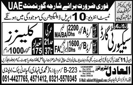 Cleaners and Security Guards Job Opportunity