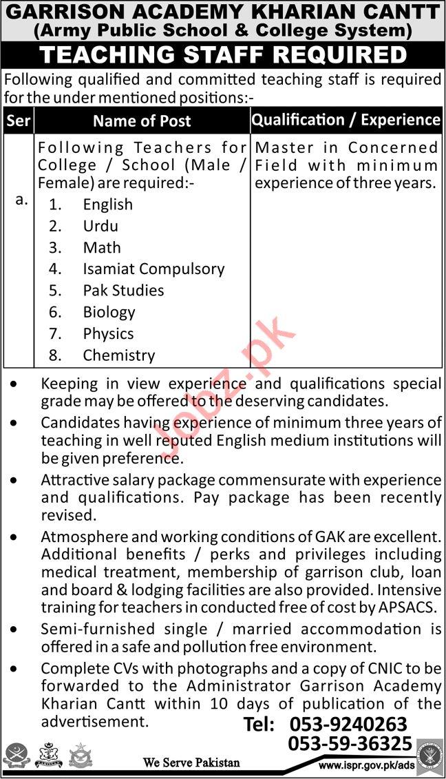 Garrison Academy APS & C Kharian Cantt Jobs 2018 Teachers