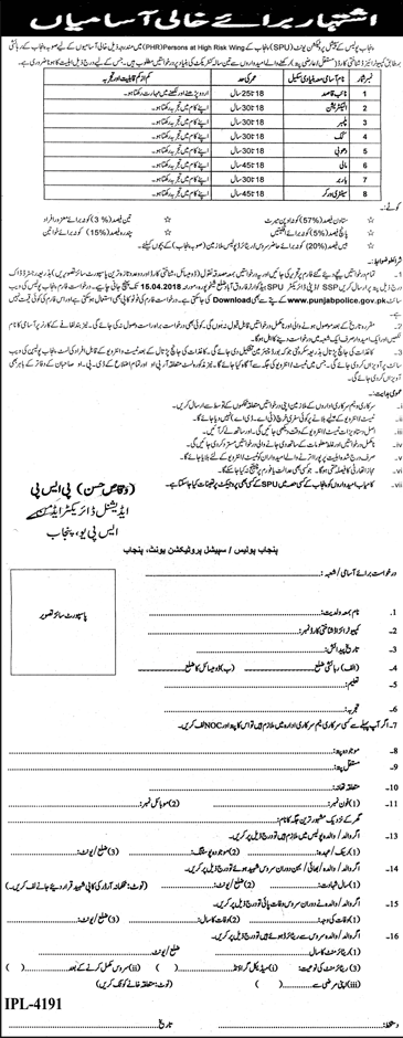 Special Protection Unit SPU Punjab Police Recruitment