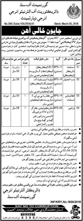 Directorate of Alternate Energy Sindh Jobs 2018