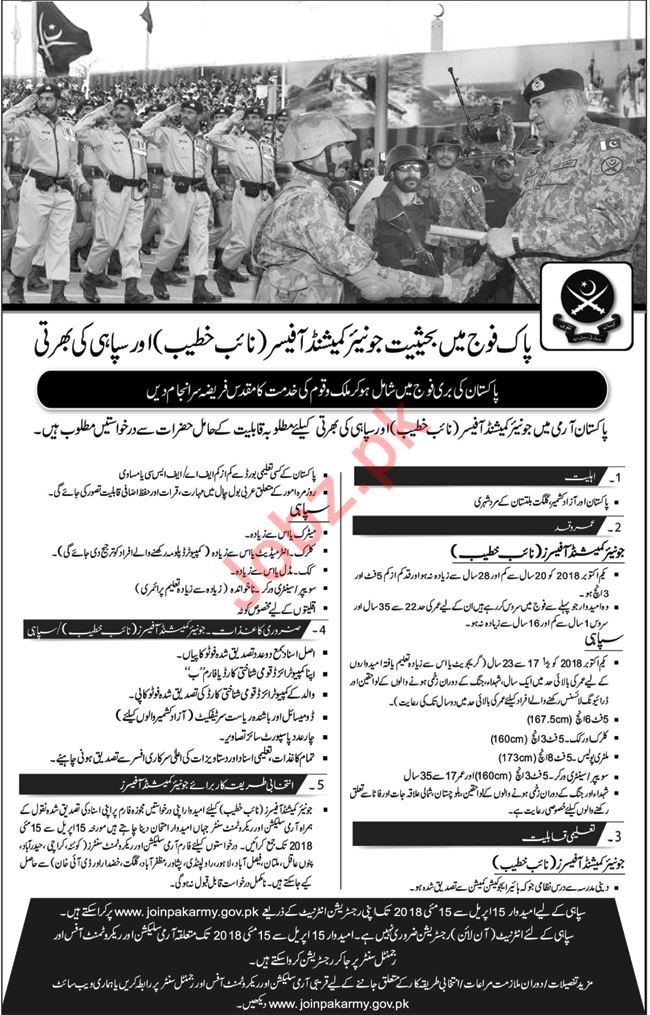 Join Pakistan Army as Junior Commissioned Officer 2018