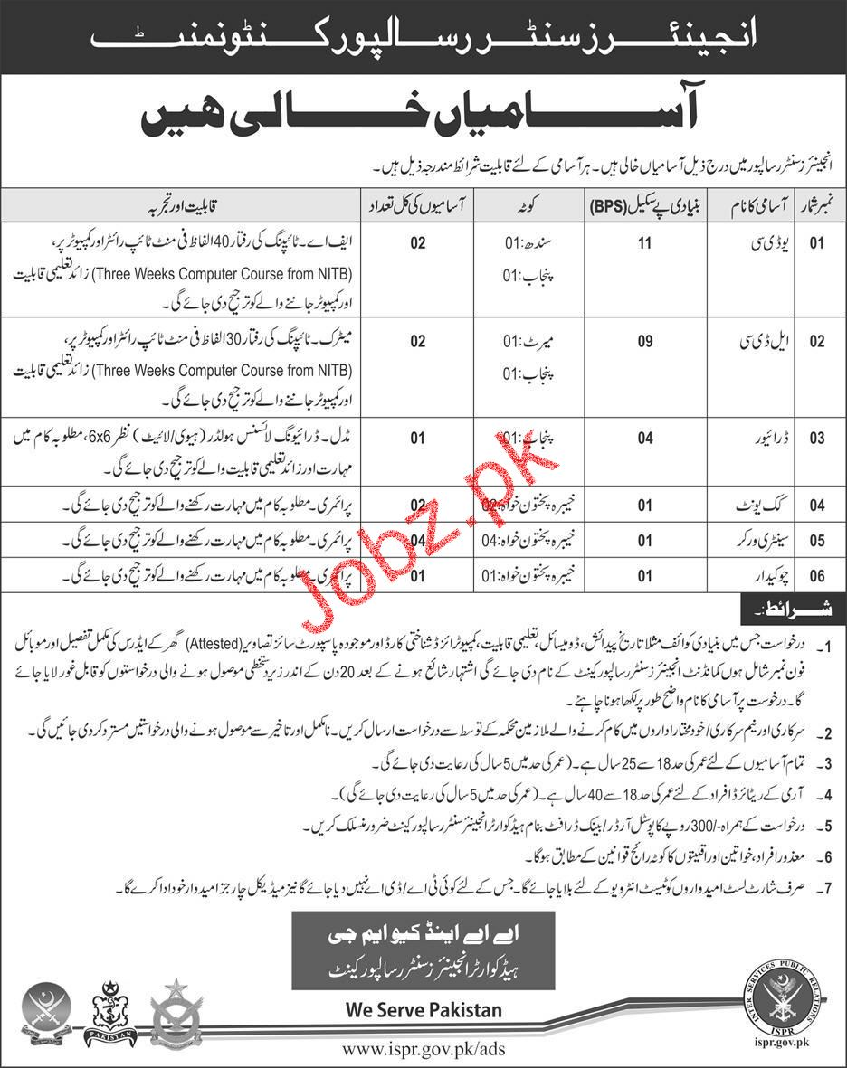 Pakistan Army Engineers Center Risalpur Cant Jobs
