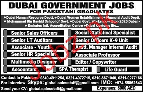 Dubai Government Jobs for Pakistani Graduates Job