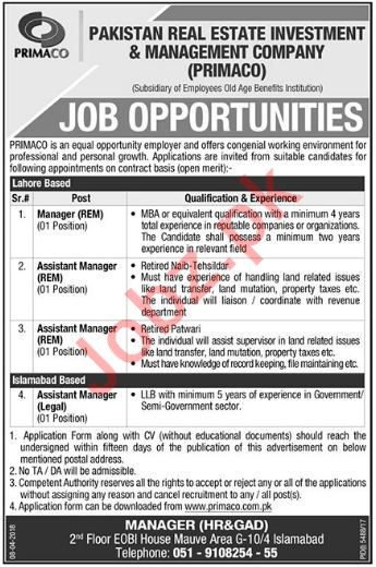 Pakistan Real Estate Investment PRIMACO Jobs 2018 Managers