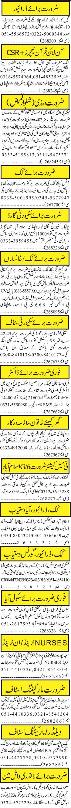 LTV Drivers, Online Quran Teachers, Tailors Job Opportunity