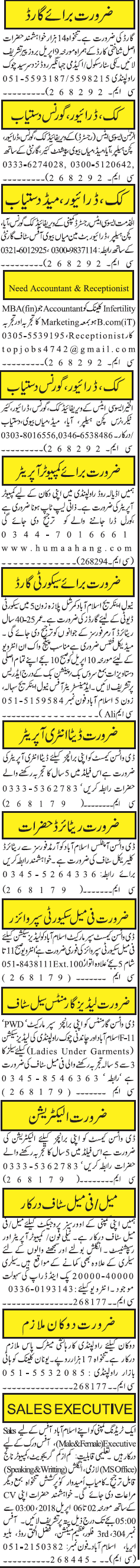 Security Guards, Cook, Drivers, House Maid Job Opportunity