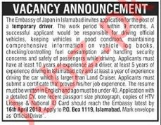 Embassy of Japan Islamabad Jobs 2018