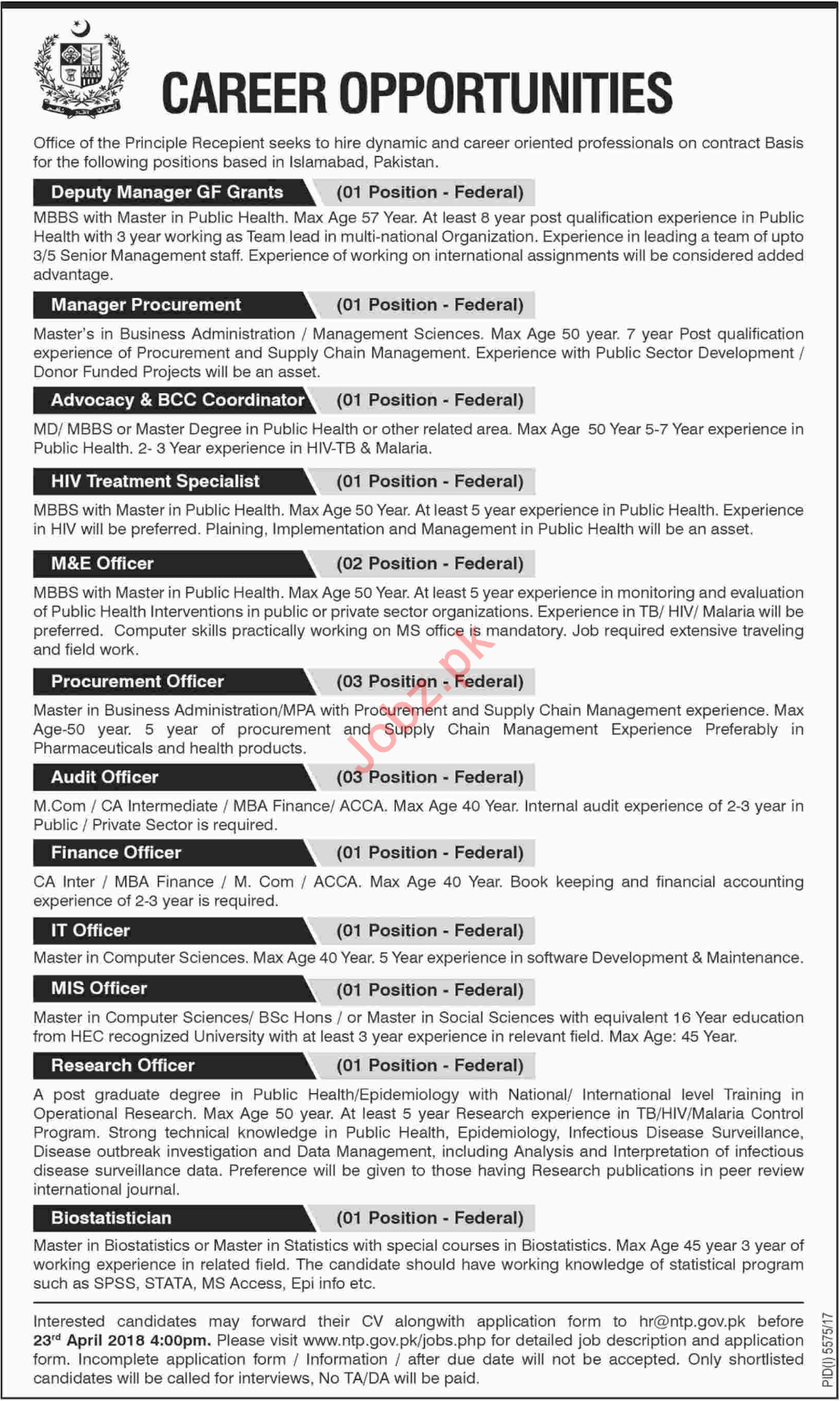 National TB Control Program NTP Job Opportunities