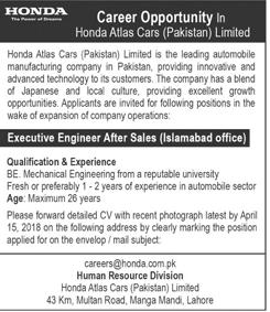 Honda Atlas Cars Pakistan Limited Engineer Jobs 2019 2018 Jobs Pakistan