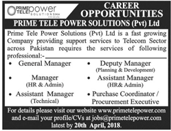 Prime Tele Power Solutions Private Limited Jobs