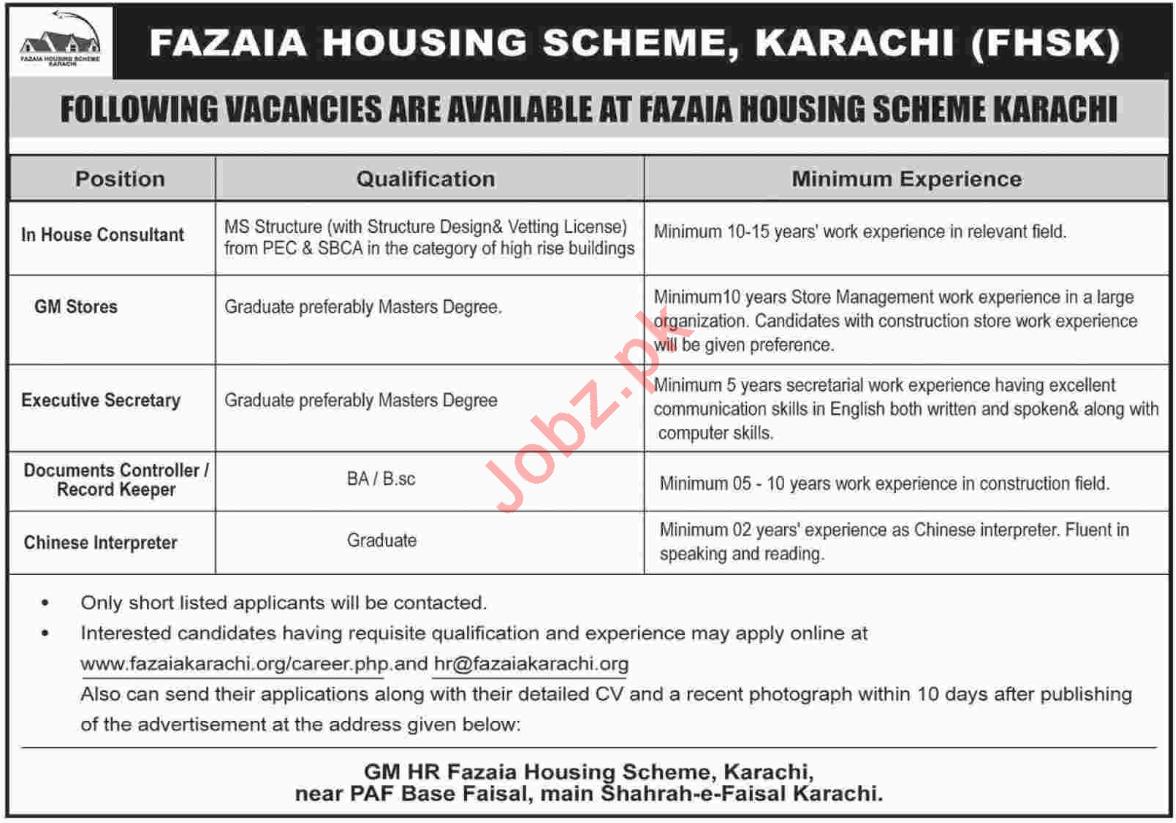 Fazaia Housing Scheme FHS Karachi Jobs