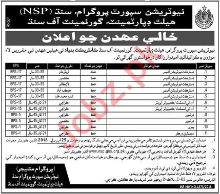 Nutrition Support Program NSP Health Department Jobs 2018