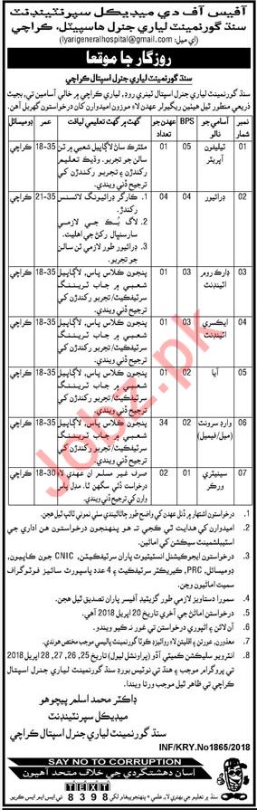 Lyari General Hospital Karachi Jobs 2018