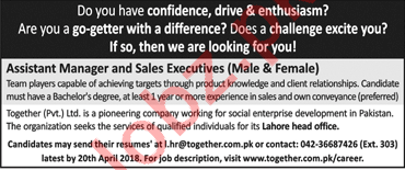 Assistant Manager Sales & Executive Jobs 2018 in Lahore