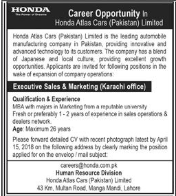 Honda Atlas Cars Pakistan Limited Sales  Jobs Open