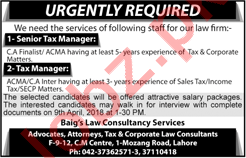 Senior Tax Manager & Tax Manager Jobs 2018