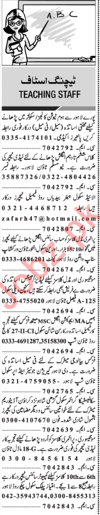 Principal & Teachers Jobs in Lahore