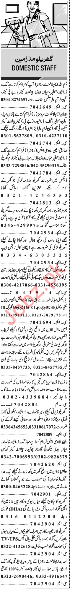 House Staff Jobs Open in Lahore