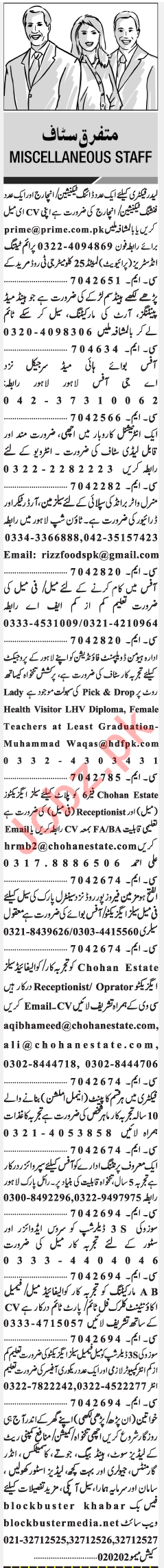Miscellaneous Jobs in Lahore 2018