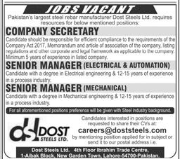 Company Secretary, Senior Manager Electrical Wanted