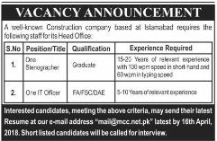 Stenographers and IT Officers Job in Construction Company