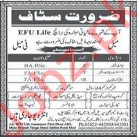 EFU Life Muzaffarabad Jobs 2018 for Sales Consultant