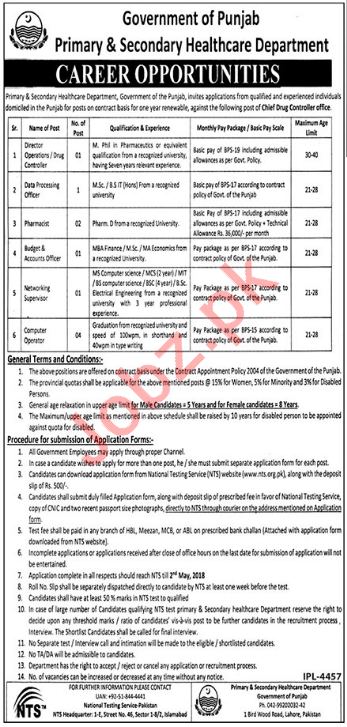 Primary & Secondary Healthcare Department Jobs 2018