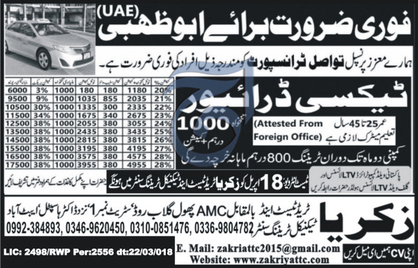 LTV Taxi Drivers Job  in  Tawasal Transport Company
