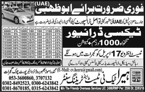 LTV Taxi  Drivers job in  Tawasal Transport Company