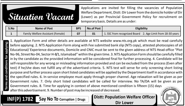Population Welfare Department  Jobs 2018