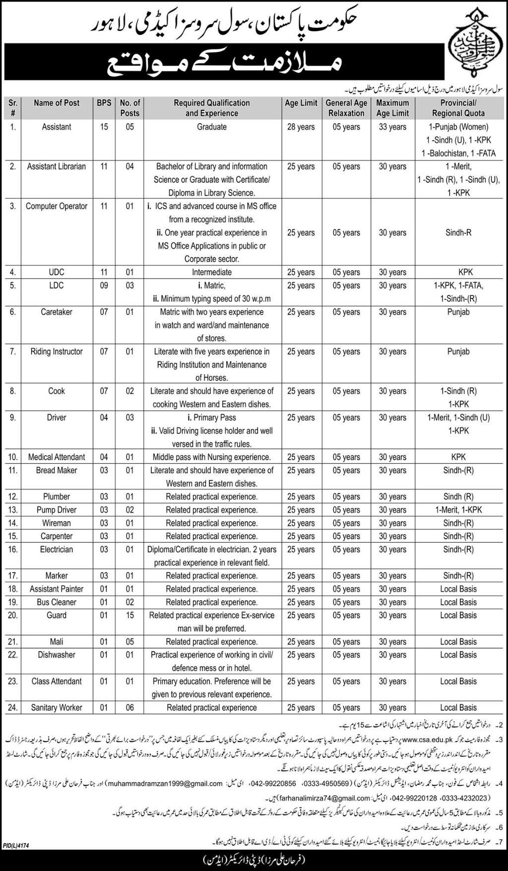 civil service academy government of pakistan jobs 2019 job