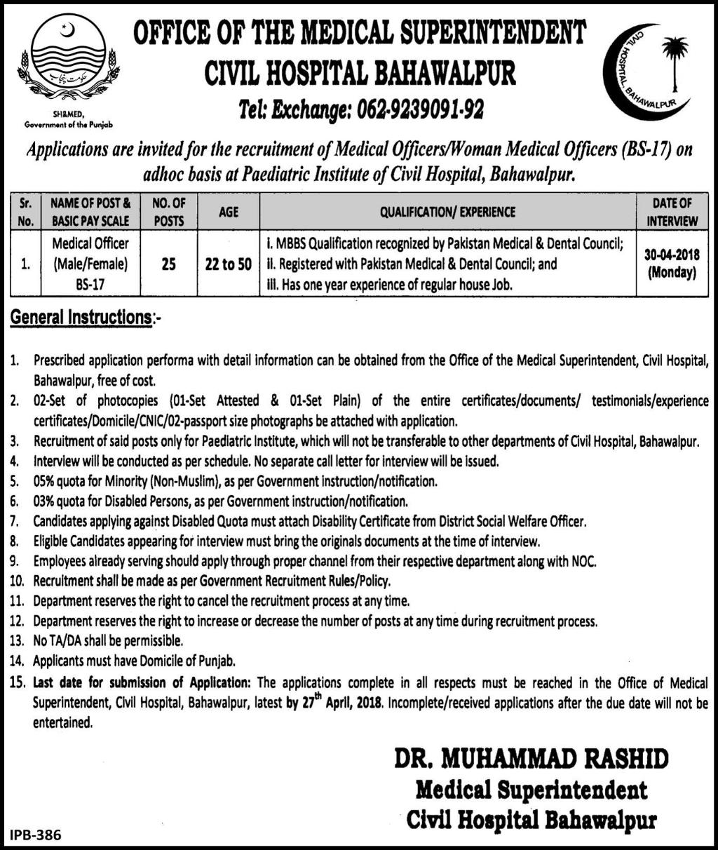 Civil Hospital Bahawalpur Medical Officers Jobs