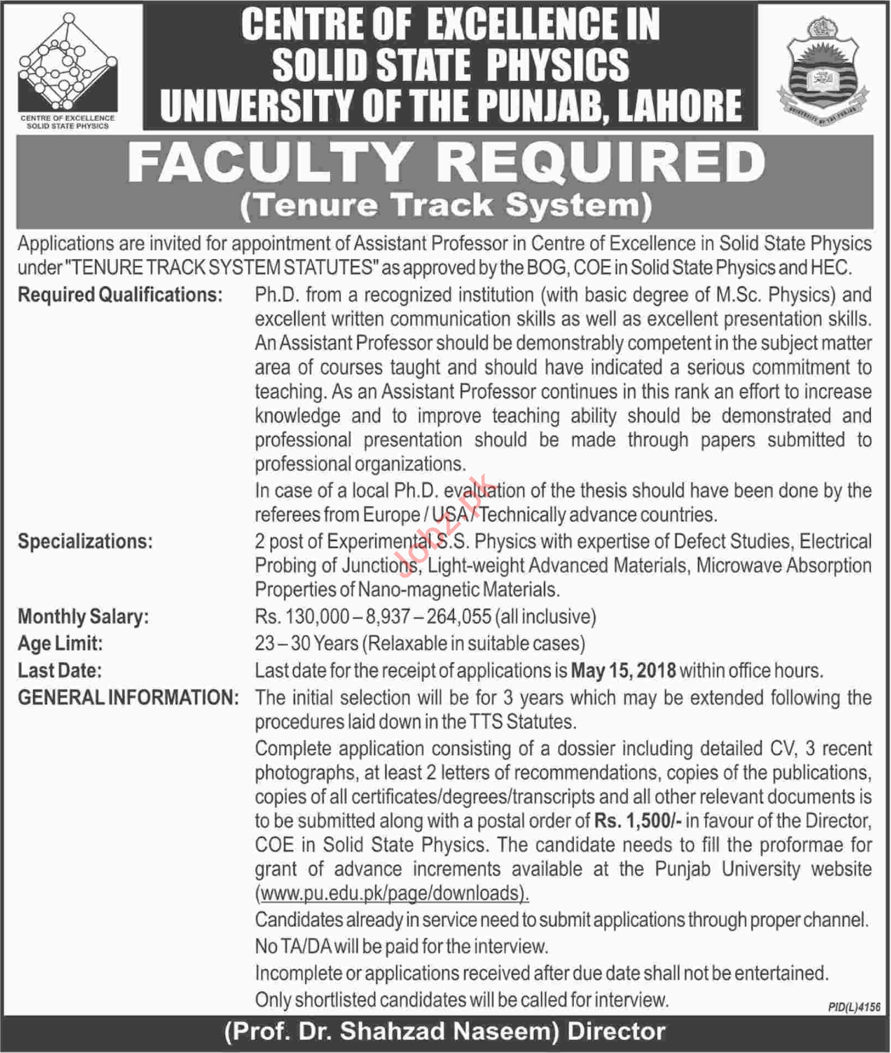 Punjab University PU Lahore Jobs 2018 Assistant Professor