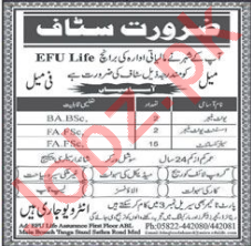 Efu Life Muzaffarabad Jobs 2018 for Unit Managers