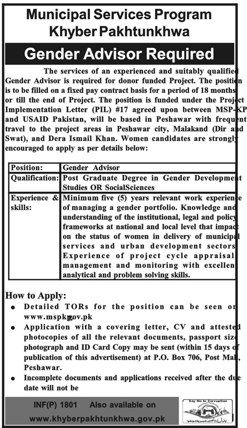 Municipal Services Program MSPKP Gender Advisers Jobs