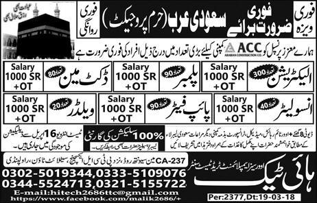 Electricians, Plumbers, Ductman, Insolators Wanted