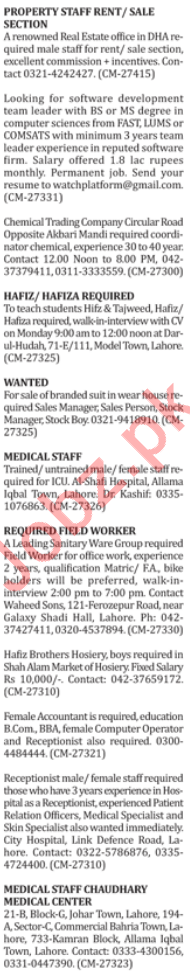 Medical Staff & Marketing Staff Jobs in Lahore
