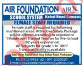 Air Foundation School System Peshawar Jobs 2018 Teachers