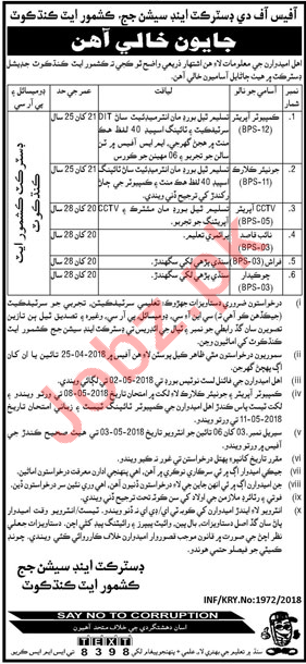 District & Session Judge Kashmore Jobs 2018