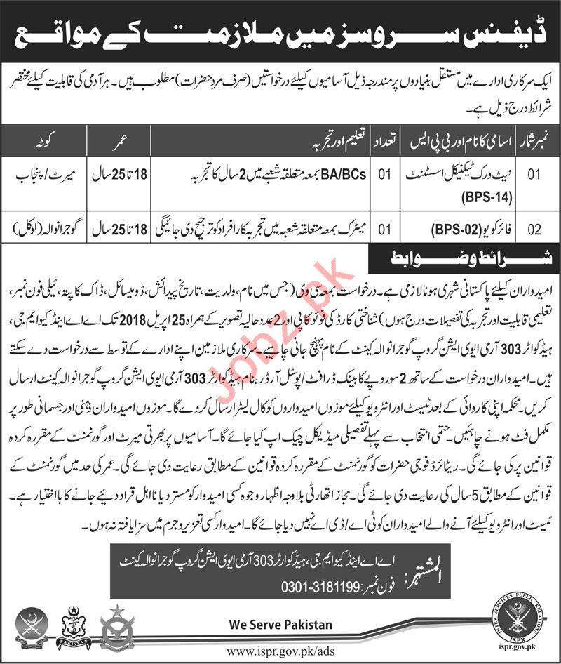 AA & QMG Headquarter 303 Army Aviation Group Gujranwala Jobs