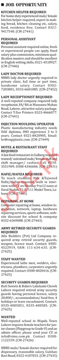 Kitchen Helper and Assistant Wanted