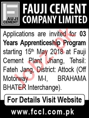 Fauji Cement Company Limited Fateh Jang Jobs 2018