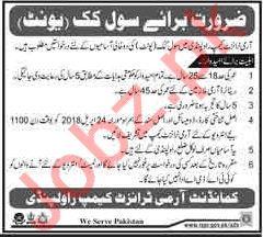 Civil Cook for Army Transit Camp Rawalpindi