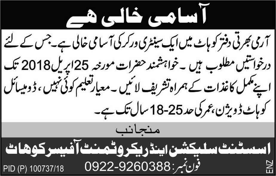 Pakistan Army Recruitment Center Kohat Jobs