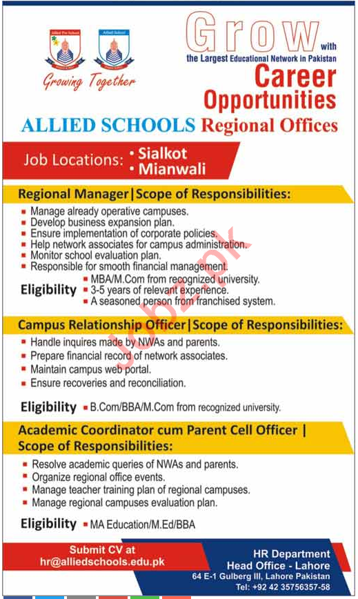 Career Opportunities at Allied Schools