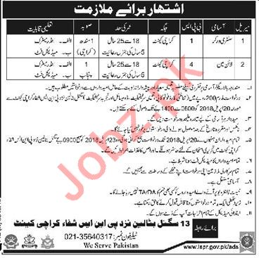 Pakistan Army 13 Signal Battalion Karachi Jobs 2018
